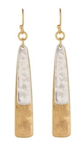 Two Tone Double Bar Earring