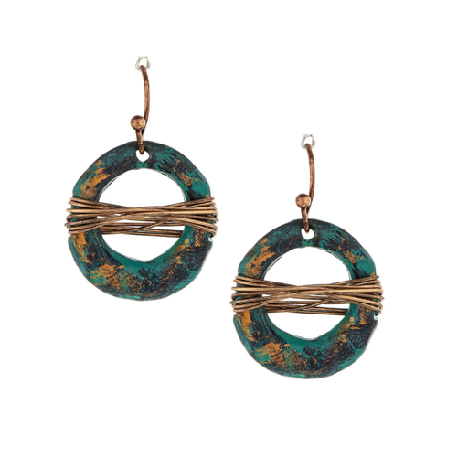 Patina Open Circle Gold Wrapped Earrings