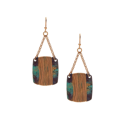 Patina Square Gold Wrapped Earrings