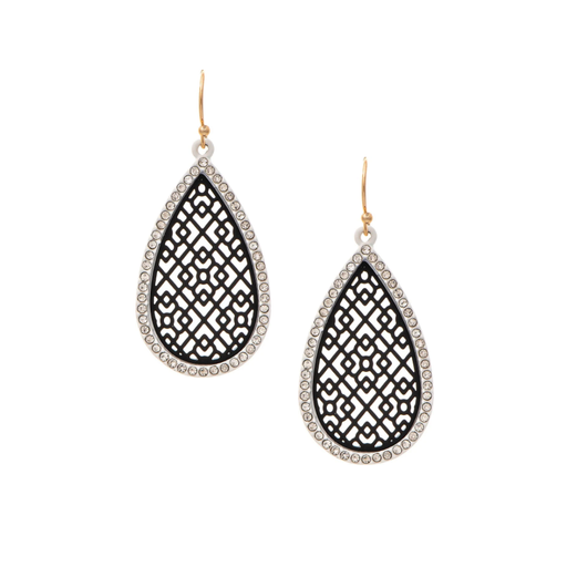 Black & Crystal Teardrop Earrings