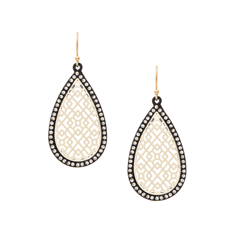 Black, Ivory & Crystal Teardrop Earrings