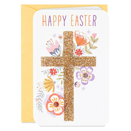 Mini Floral Cross Happy Easter Card