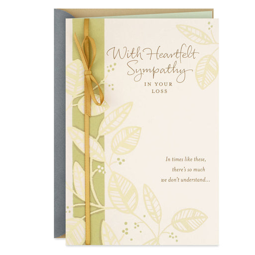 Gold Leaves Religious Sympathy Card