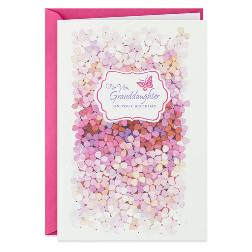 Butterfly and Pink Flowers Birthday Card for Granddaughter