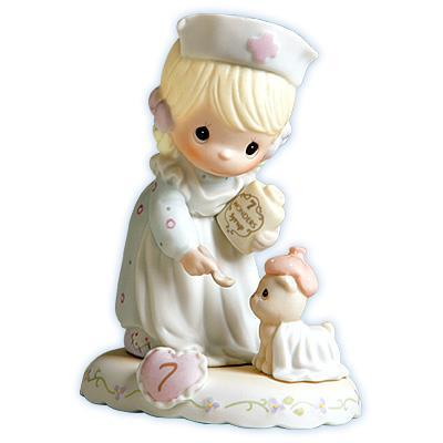 Precious Moments Age 7 Girl Figurine - Blonde Retired
