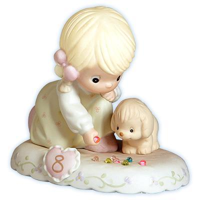 Precious Moments Age 8 Girl Figurine - Blonde Retired