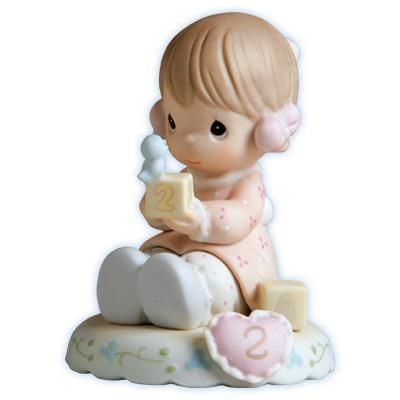 Precious Moments Age 2 Girl Figurine - Brunette Retired