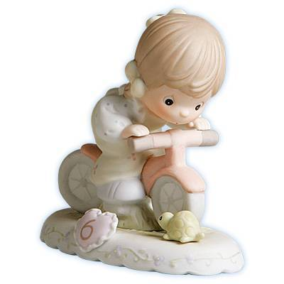 Precious Moments Age 6 Girl Figurine - Brunette Retired