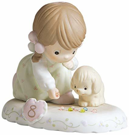 Precious Moments Age 8 Girl Figurine - Brunette Retired