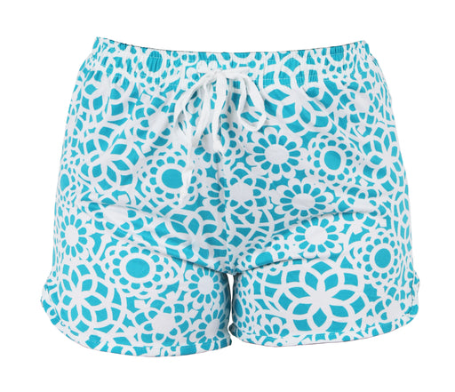 Turquoise Lace Pattern Leisure Shorts