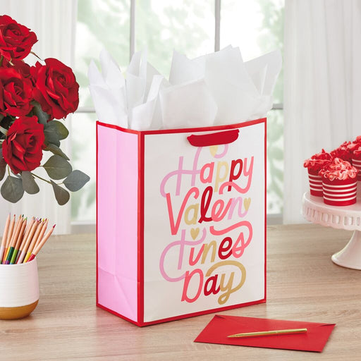 "13"" Happy Valentine's Day Script Gift Bag"