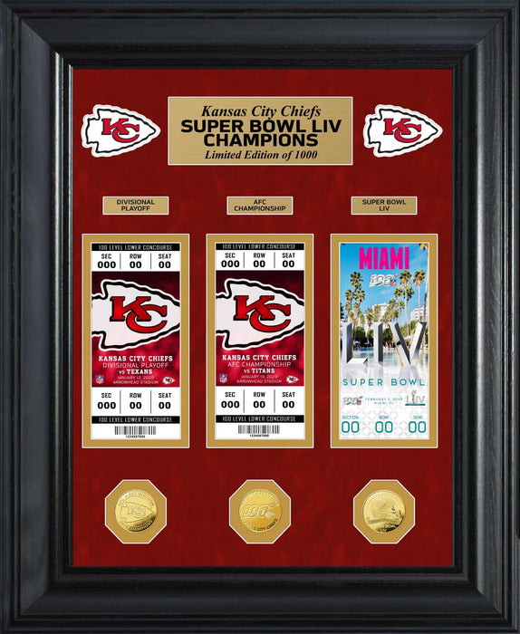 Kansas City Chiefs Road to Super Bowl 54 Deluxe Gold Coin & Ticket Collection