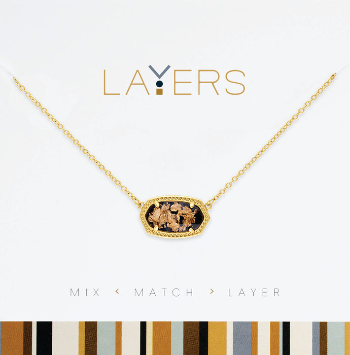 Gold Flake Necklace in Gold