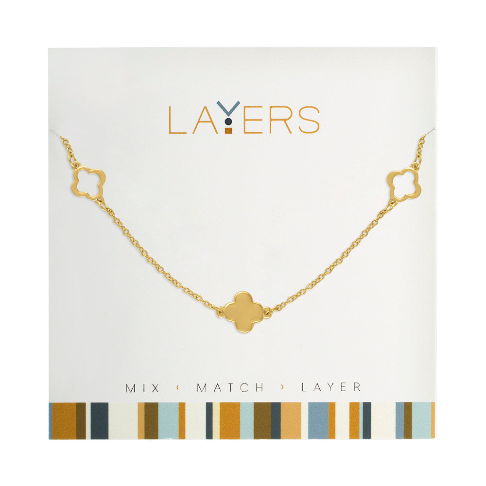 Trio Quadrafoil Necklace in Gold