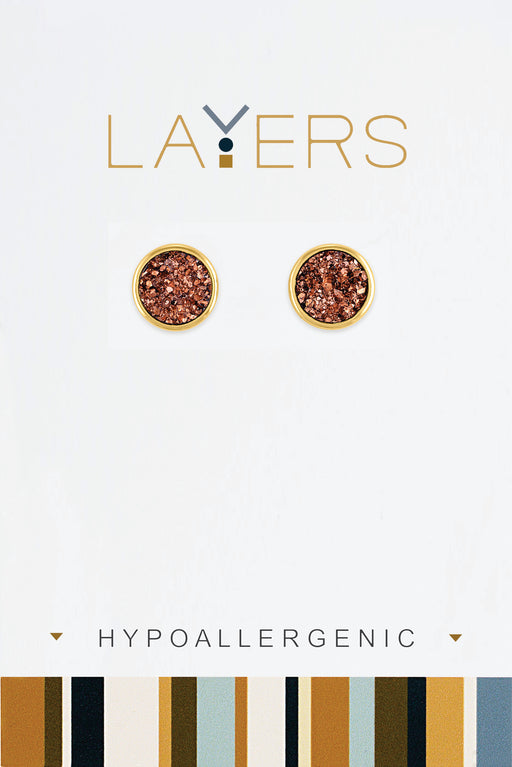 Circle Pink Druzy Earrings in Gold