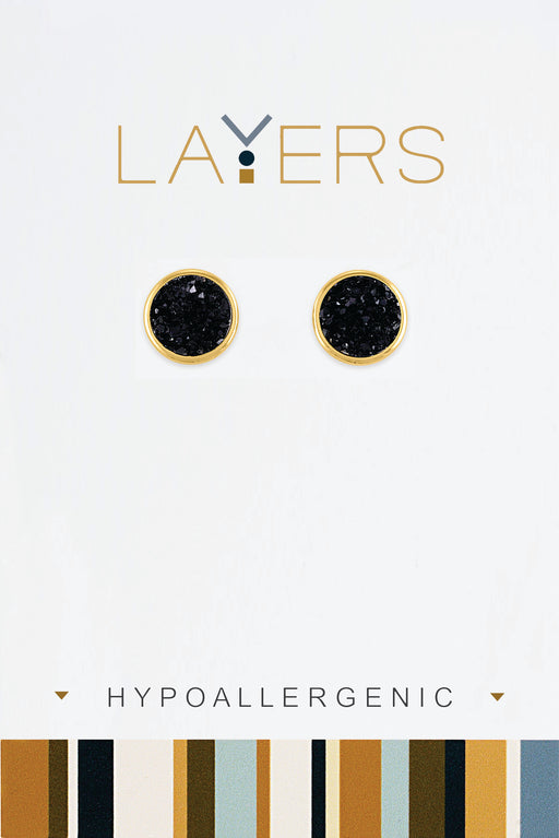 Circle Black Druzy Earrings in Gold