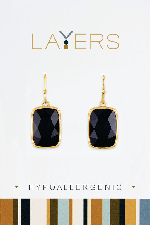 Rectangle Black Stone Earrings in Gold