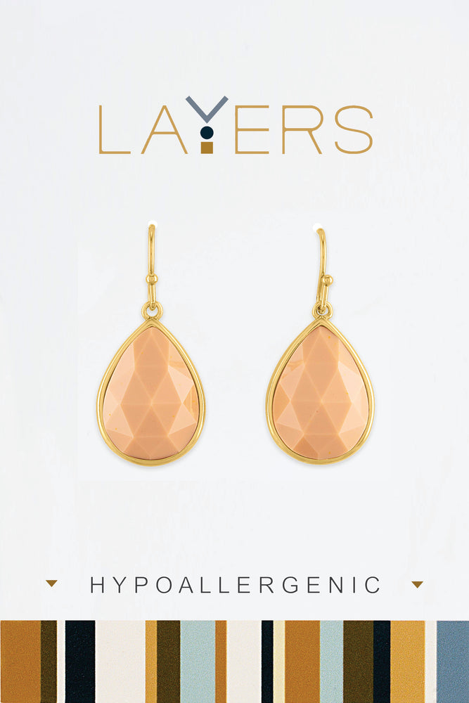 Teardrop Apricot Stone Earrings in Gold