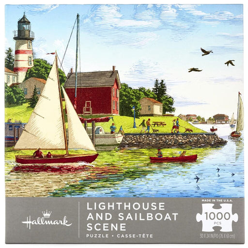 Lighthouse and Sailboat Scene 1000 Piece Puzzle