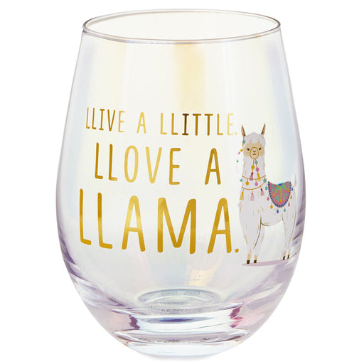 Llive a Little, Llove a Llama Wine Stemless Wine Glass