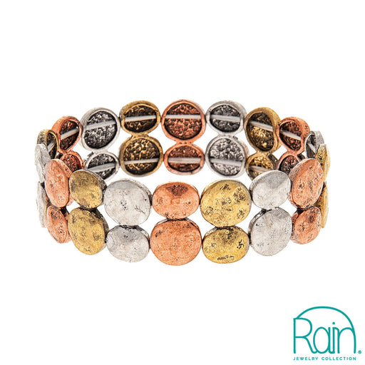 Multi Metal Two Row Disc Bracelet