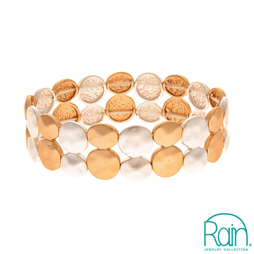 Two Tone Two Row Disc Bracelet
