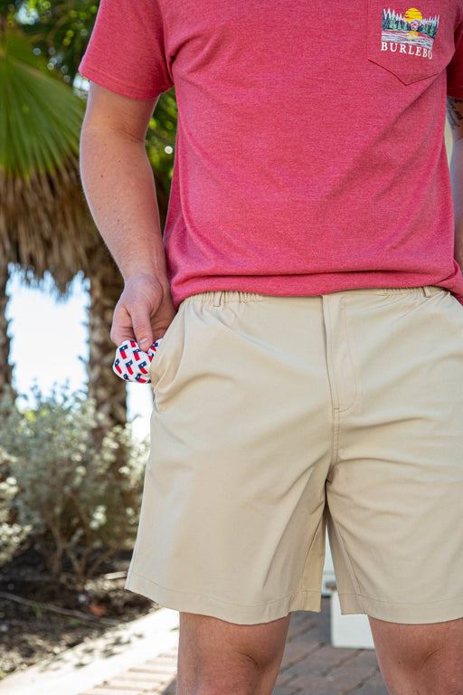 Burlebo Natural Khaki Shorts with Texas Flag Pockets