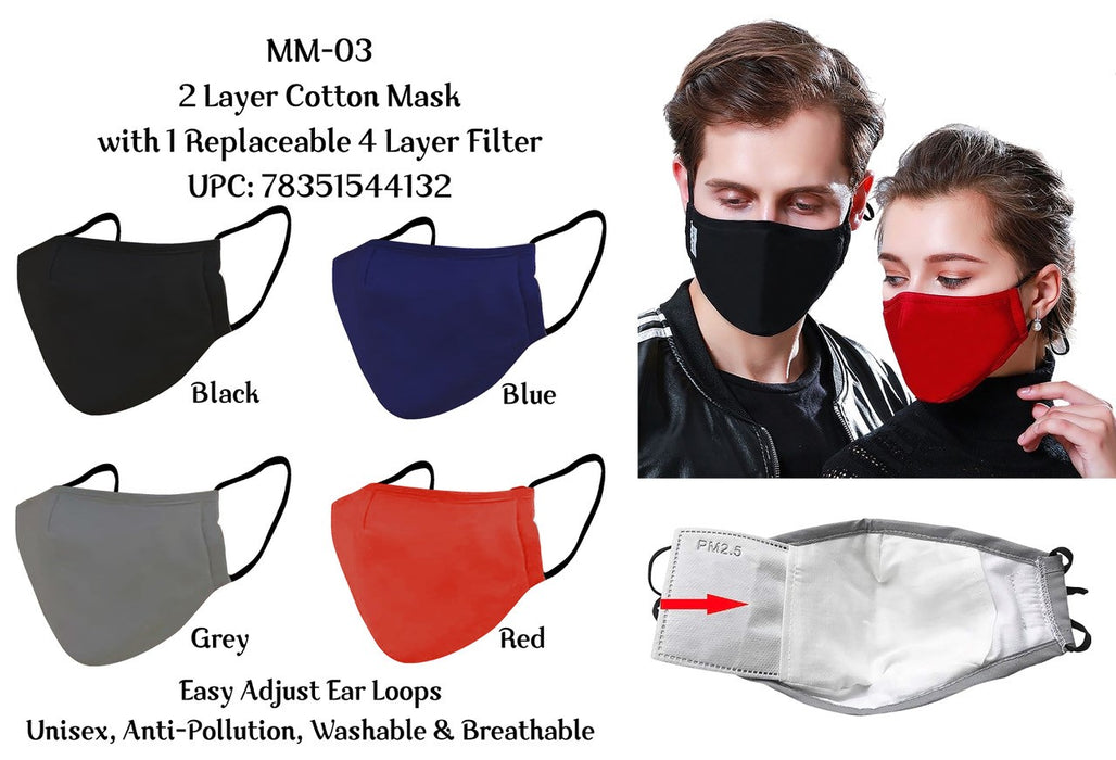 Gray Cloth Face Mask with Filter