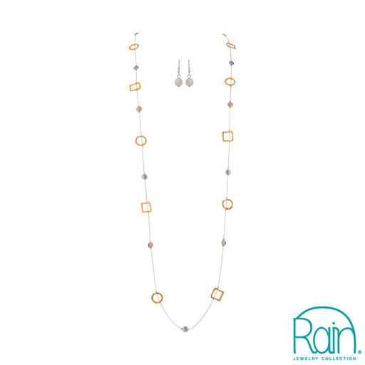 Two Tone Long Circle Square Necklace Set