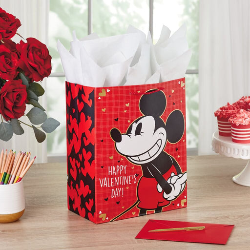 "13"" Disney Mickey Mouse Valentine's Day Gift Bag"