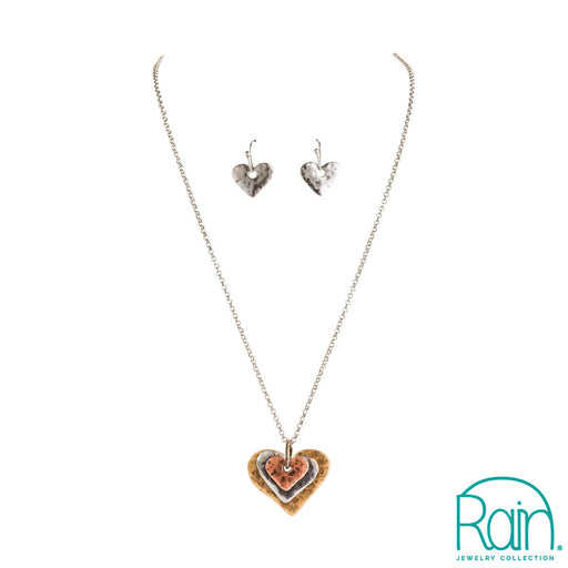 Multimetal Layered Hearts Pendant Necklace Set