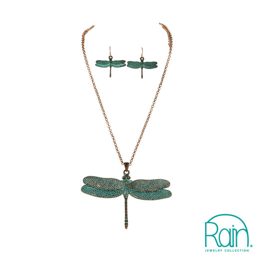 Patina Large Dragonfly Necklace Set