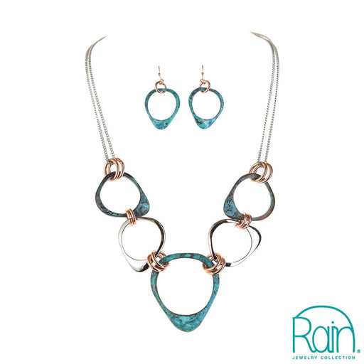 Patina Mix Abstract Rings Necklace Set