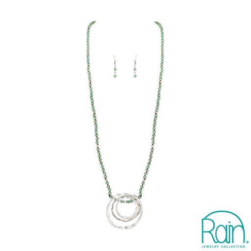 Silver Green Crystal Ring Necklace Set