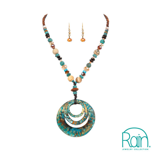 Patina Rings Beaded Cord Necklace Set