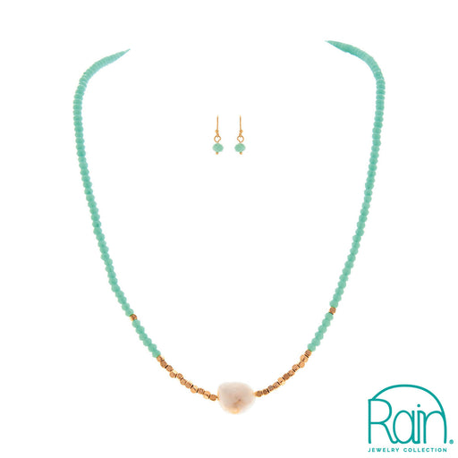 Gold Mint Pearl Necklace Set
