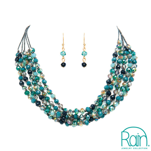 Blue Bead Four Layer Cord Necklace Set