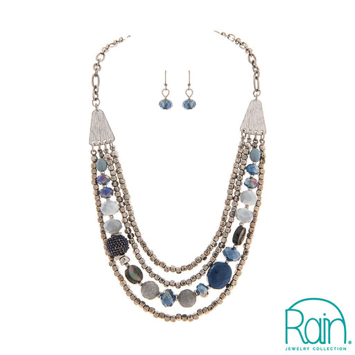 Silver Blue Strands Necklace Set
