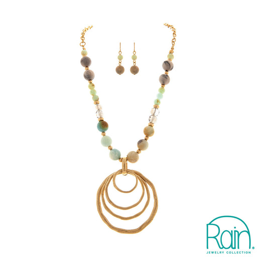 Natural Beaded Five Circles Necklace Set