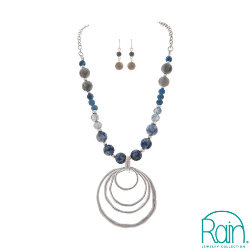 Blue Beaded Five Circles Necklace Set