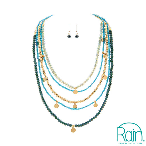 Gold Blue Glass Strands Necklace Set