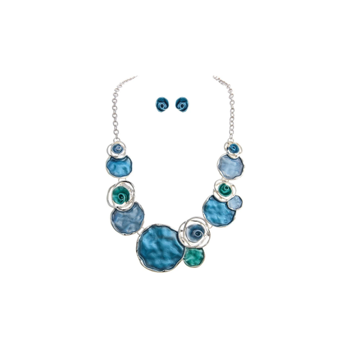 Silver & Blue Circle and Posy Bib Necklace & Earrings Set