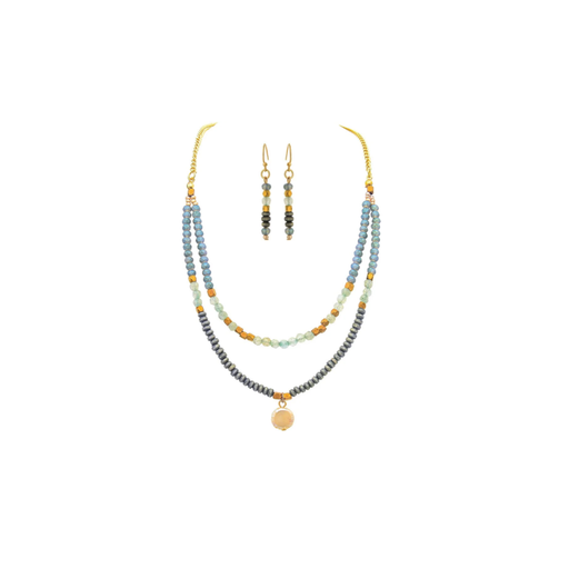 Gold, Blue & Freshwater Pearl Layered Necklace & Earrings Set