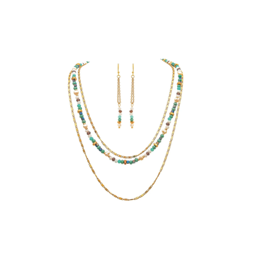 Gold & Blue Bead 3 Layered Necklace & Earrings Set