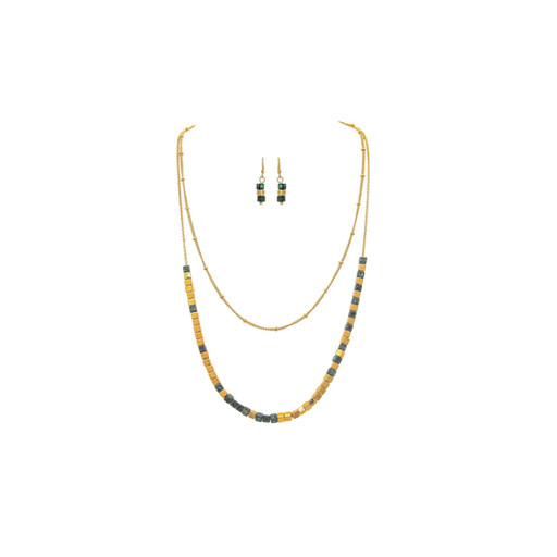 Gold & Lapis Blue Layered Necklace & Earrings Set