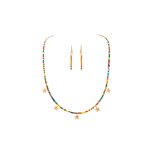 Gold Star Charm & Multi Seed Bead Necklace & Earrings Set