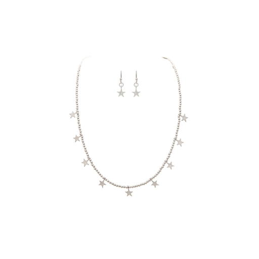 Silver Seed Bead & Star Charm Necklace & Earrings Set