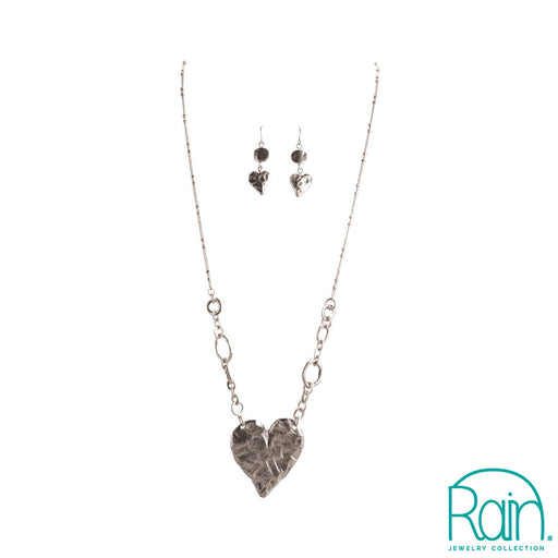 Silver Hammered Heart Necklace Set