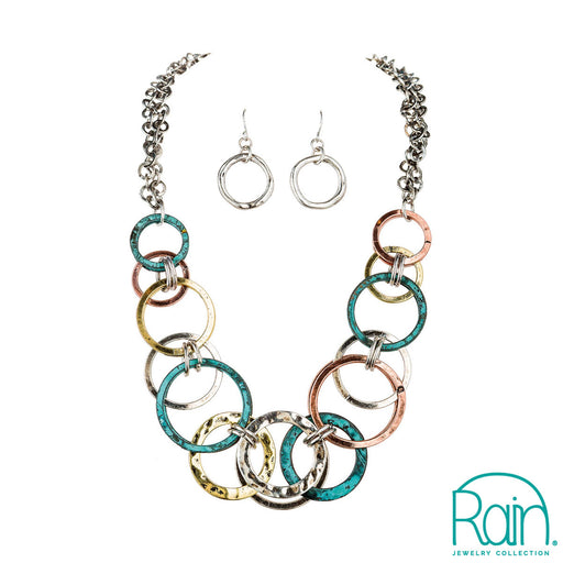 Patina Multi Metal Ring Layers Necklace Set