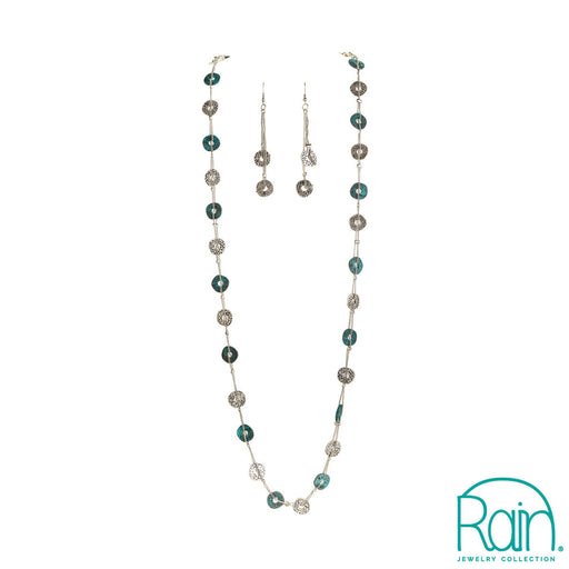 Patina Silver Buttons Necklace Set